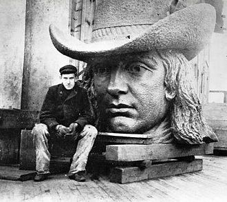 Alexander Milne Calder - Calder with the head of his statue of William Penn