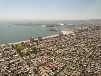 Alamitos Beach, Long Beach, California - The Alamitos Beach neighborhood of Long Beach, California, looking southwest. The Alamitos Beach neighborhood is in the center of this photo.