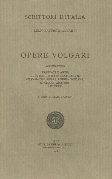 File:Alberti, Leon Battista – Opere volgari, Vol. III, 1973 – BEIC 1724974.djvu