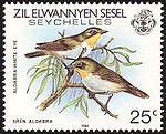 Aldabra white-eye 1985 stamp of Seychelles.jpg