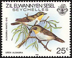 Aldabra white-eye 1985 stamp of Seychelles.jpg