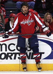 Photographie couleur d'Aleksandr Ovetchkine capitaine des Capitals de Washington