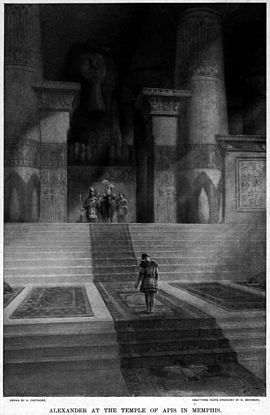 Alexander at the Temple of Apis in Memphis, by Andre Castaigne (1898-1899) Alexander visits the Apis bull at the temple in Memphis by Andre Castaigne (1898-1899).jpg