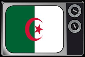 Television in Algeria - Television set with Algerian flag