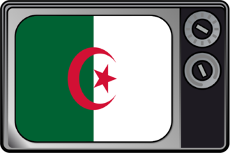 Television in Algeria - Television set with Algerian flag
