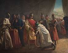 An 1883 painting showing Muhammad I kissing the hand of Ferdinand III of Castile, while surrendering Jaén and agreeing to be his vassal.