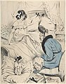 An old woman giving a pedicure to a young lady MET DP804169.jpg
