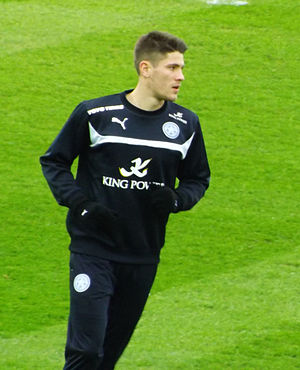 Andrej Kramarić - Kramarić warming up for Leicester City after the transfer from Rijeka, 2015.