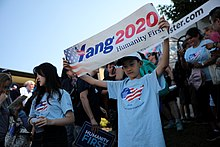 Supporters of Yang's campaign.
