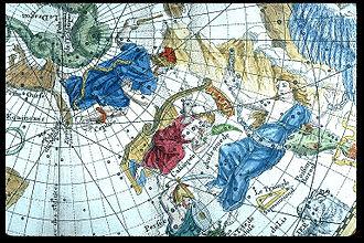 Philippe de La Hire - Andromeda and Cassiopeia, detail from Planisphère céleste (1705).