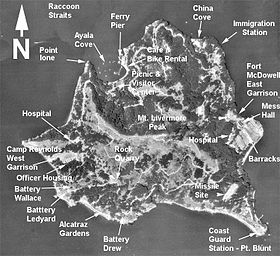Vue satellite d'Angel Island