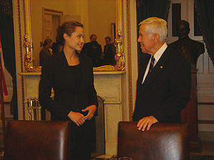 Senator Richard Lugar meeting with actress Angelina Jolie.