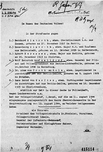 Roland Freisler - Criminal case against six defendants in the 20 July 1944 plot in the German People's Court, presided over by Judge Roland Freisler, who were tried and executed 15 August 1944