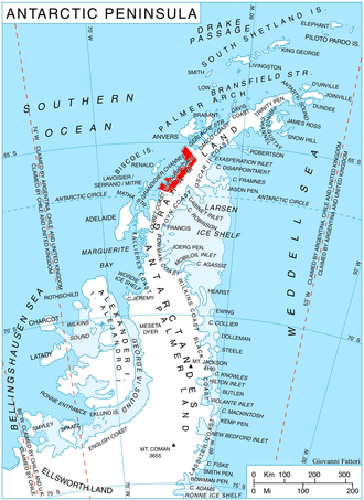 Graham Coast - Location of Graham Coast on the Antarctic Peninsula.