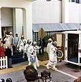 Apollo 14 crew at van for transfer to launch pad.jpg