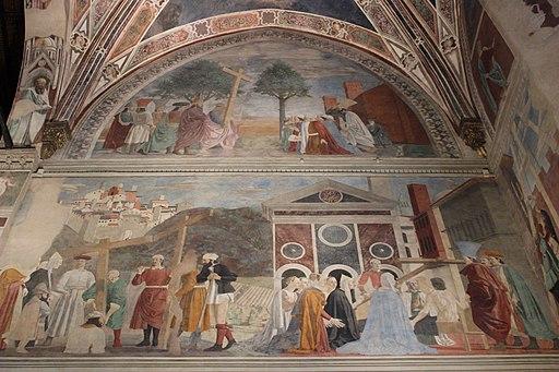 Piero della Francesca, Storie della Vera Croce, basilica di San Francesco, Arezzo [sceneL'Esaltazione della Croce (alto) e Ritrovamento delle tre croci e verifica della Croce (centro)