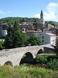 Arre village (Gard, Fr), Arre river, bridge and church.JPG