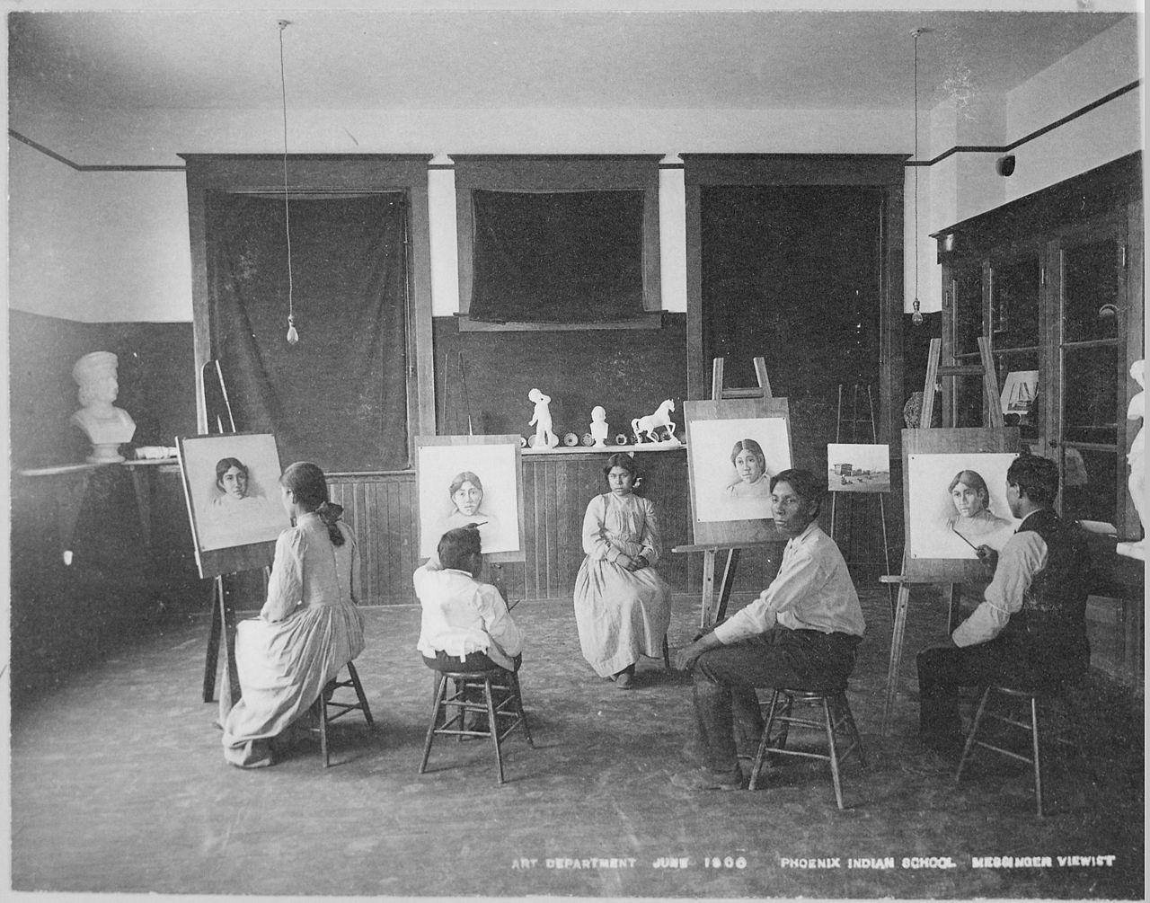 File Art Class Phoenix Indian School Arizona 06 1900