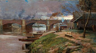 Princes Bridge - The newly constructed Princes Bridge, painted in 1888 by Arthur Streeton of the Heidelberg School art movement