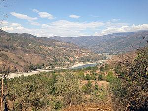 Arun River, China-Nepal - View of Arun River from Leguwa VDC of Nepal.