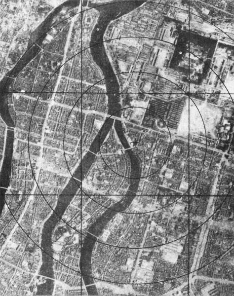Aerial view of Hiroshima before the bombing