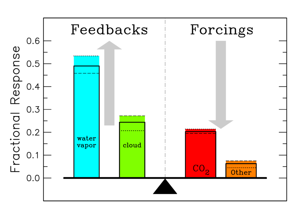 Attribution of individual atmospheric component contributions to the terrestrial greenhouse effect, separated into feedback and forcing categories (NASA)
