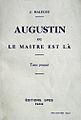 Augustin ou Le Maître est là Malègue.jpg
