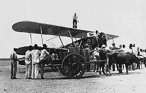 San Jerónimo, Baja Verapaz - Airplane being fueled on San Jerónimo aviation field in 1928.  This airport served the Baja Verapaz Department region.