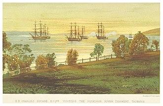 Flying Squadron (1869) - Image: B(1871) p 177 TASMANIA, RIVER DERWENT. H.E. CHARLES DUCANE VISITING THE SQUADRON