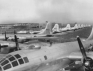 McConnell Air Force Base - Newly manufactured B-29s on the ramp at Boeing-Wichita awaiting delivery to operational units, 1945