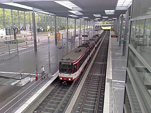 Esprit Arena - A train of the Düsseldorf Stadtbahn at Esprit Arena/Messe Nord station