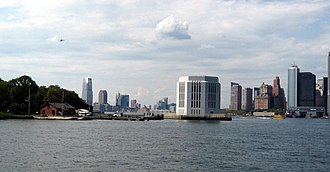 Brooklyn–Battery Tunnel - Governors Island with Brooklyn-Battery Tunnel vent tower at right