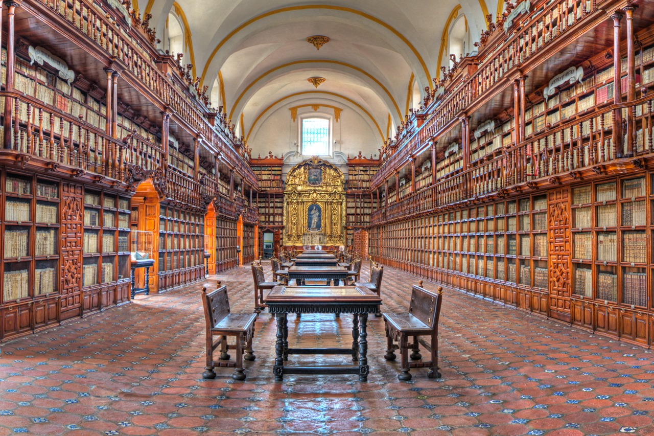 Interior of the Palafox Library in Puebla, Mexico