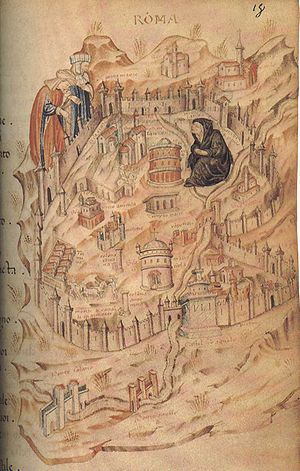 Avignon Papacy - Map of the city of Rome, showing an allegorical figure of Rome as a widow in black mourning the Avignon Papacy