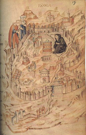 Drawing of Rome during the fourteenth century.