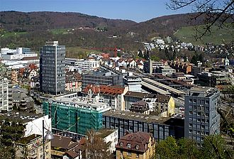 Baden, Switzerland - Baden with the railway station