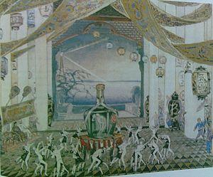 The Red Poppy - Scene of foxtrot dance, scenery by M. Kurilko