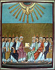 A Szentlélek megszállja az apostolokat. Kép a Bamberg Apocalypse-ból