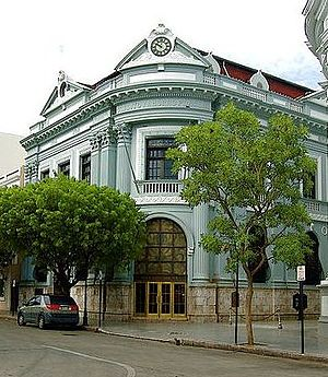 """Banco Crédito y Ahorro Ponceño - Banco Crédito y Ahorro Ponceño's former main office in downtown Ponce.  Its branches, including its main branch above in Ponce, are now branded """"Banco Santander"""". The above branch was Banco Crédito's first and was built in 1924."""