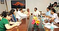 Bandaru Dattatreya meeting the Minister of State for Culture (Independent Charge), Tourism (Independent Charge) and Civil Aviation, Dr. Mahesh Sharma, in New Delhi on May 13, 2015.jpg