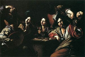 Bartolomeo Manfredi - Tavern Scene with a Lute Player by Bartolomeo Manfredi