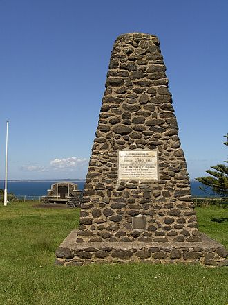 Matthew Flinders - Memorial at Flinders, Victoria, commemorating the discovery of Western Port on 4 January 1798, by George Bass and the later passage of Bass Strait by Bass and Flinders in the same year.