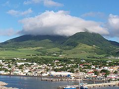 Panoramic View of the City of Basseterre from Zante, looking North.