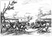 Black and white drawing of a battle scene, showing men on the ground, destroyed cannons, and the tops blown off of trees.