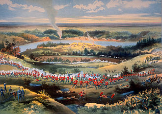 Battle of Batoche - Contemporary lithograph of the Battle of Batoche