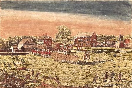 The Battle of Lexington, April 19th, 1775. Blue coated militiamen in the foreground flee from the volley of gunshots from the red coated British Army line in the background with dead and wounded militiamen on the ground. Battle of Lexington Detail.jpg