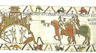 "Breton–Norman War - ET CUNAN CLAVES PORREXIT (""and Conan passed out the keys""), scene from Bayeux Tapestry (c.1066) showing Conan II, Duke of Brittany (d.1066) surrendering the keys (hanging from the tip of a lance) to the castle of Dinan, to the forces of William, Duke of Normandy, following the siege and Battle of Dinan"