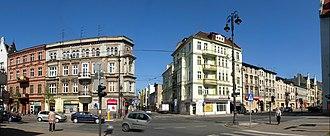 Gdańska Street in Bydgoszcz - Gdańska Street panorama, Paul Storz Tenement (left), and Otto Riedl Tenement (right)