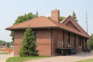 National Register of Historic Places listings in Dodge County, Wisconsin - Image: Beaver Dam Wisconsin Depot Side