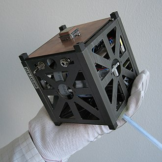 A Cubesat a type of miniaturized satellite for space research BeeSat RTM 500x500.JPG